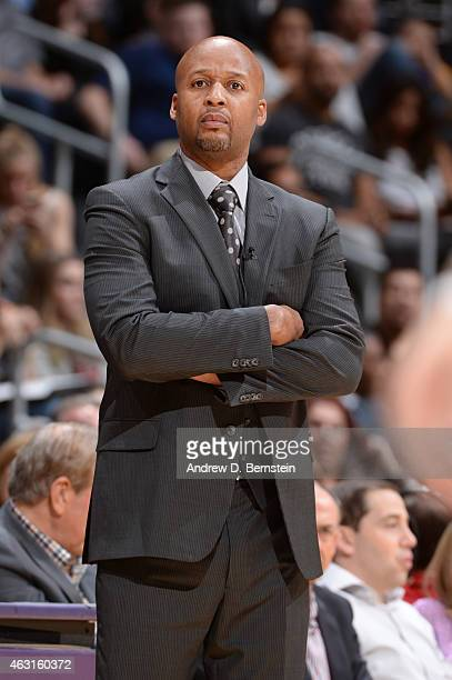 Head coach Brian Shaw of the Denver Nuggetsduring the game against the Los Angeles Lakers on February 10 2015 at STAPLES Center in Los Angeles...