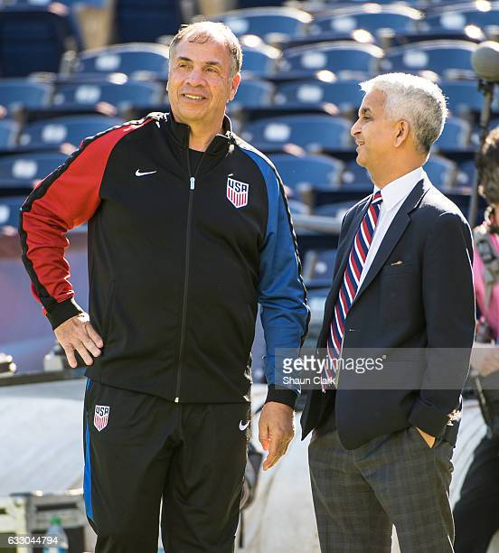 Head Coach Bruce Arena an Sunil Gulati of the United States prior to the International Soccer Friendly match between the United States and Serbia at...