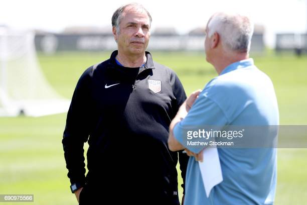 Head coach Bruce Arena fields questions from the media after a training session of the US Men's National Team at Dick's Sporting Goods Park on May 31...
