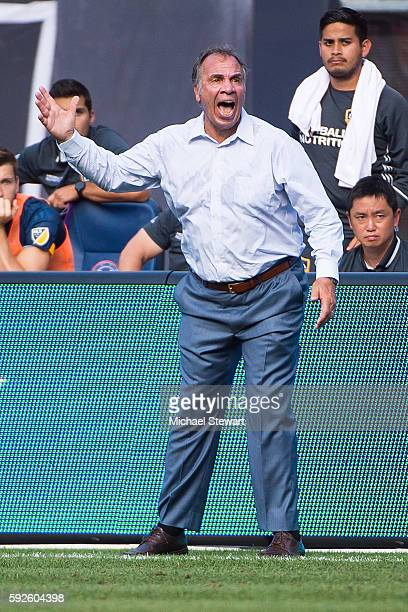 Head Coach Bruce Arena of Los Angeles Galaxy argues a call during the match vs New York City FC at Yankee Stadium on August 20 2016 in New York City...