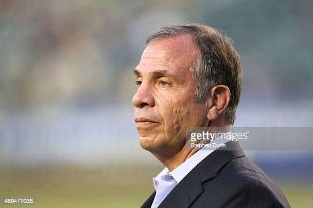 Head coach Bruce Arena of the Los Angeles Galaxy looks on during warmups for the match with Club America in the International Champions Cup 2015 at...