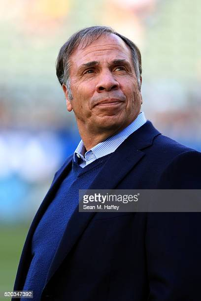 Head coach Bruce Arena of the Los Angeles Galaxy looks on prior to a game against the Portland Timbers at StubHub Center on April 10 2016 in Carson...
