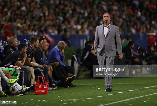 Head Coach Bruce Arena of the Los Angeles Galaxy paces the side line durng the MLS between the Colorado Rapids and the Los Angeles Galaxy at StubHub...