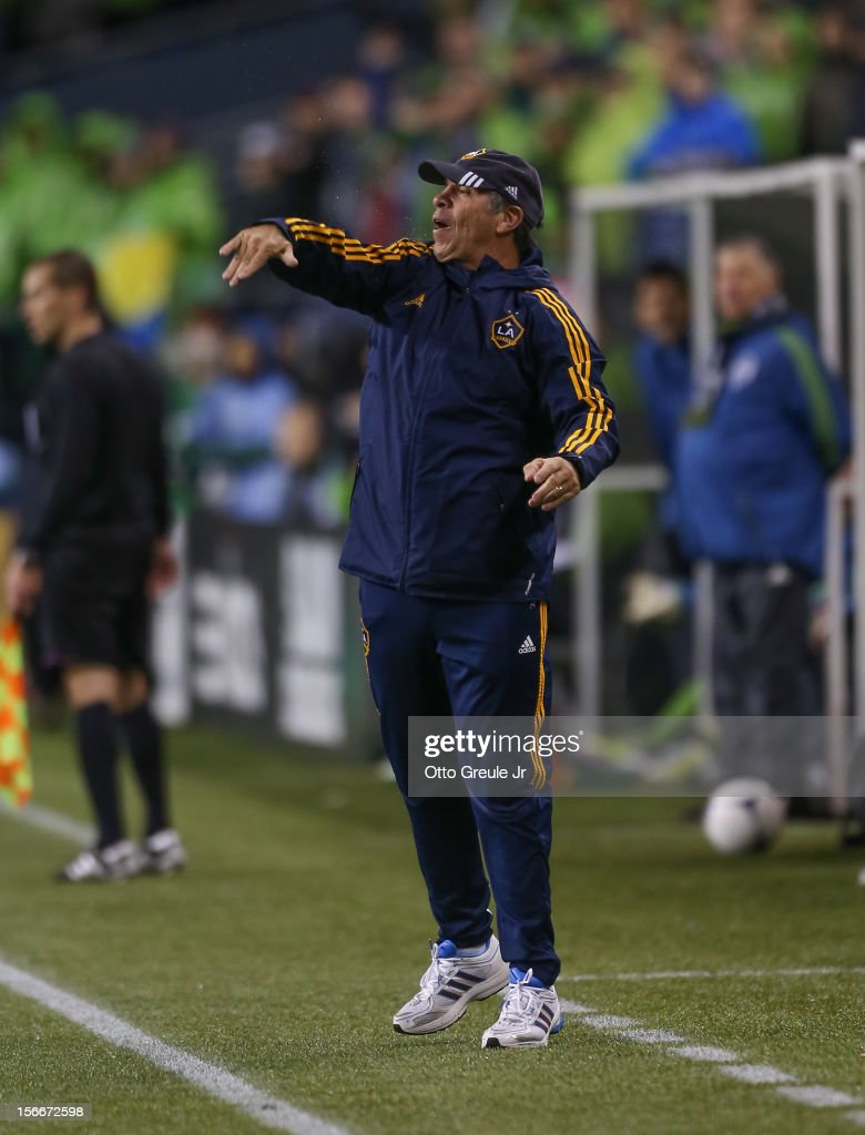 Head coach Bruce Arena of the Los Angeles Galaxy reacts during the match against the Seattle Sounders FC during Leg 2 of the Western Conference Championship at CenturyLink Field on November 18, 2012 in Seattle, Washington. The Galaxy defeated the Sounders 2-1, winning the aggregate playoff 4-2.