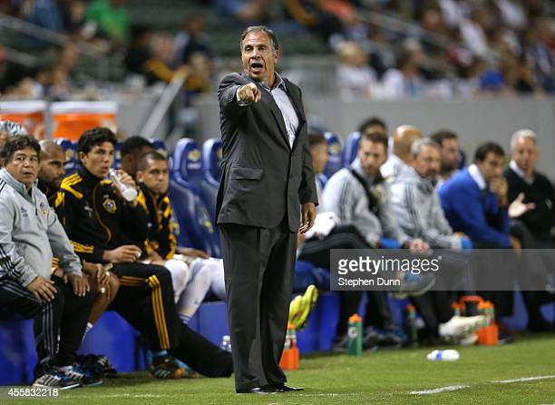 Head coach Bruce Arena of the Los Angeles Galaxy shouts to a sideline referee during the game with FC Dallas at StubHub Center on September 20 2014...