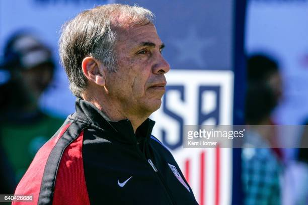 Head coach Bruce Arena of the United States looks on during pregame warmups prior to their match against Serbia at Qualcomm Stadium on January 29...