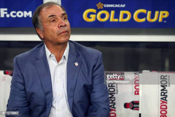 Head coach Bruce Arena of the United States prepares to take on Costa Rica during the 2017 CONCACAF Gold Cup Semifinal at ATT Stadium on July 22 2017...