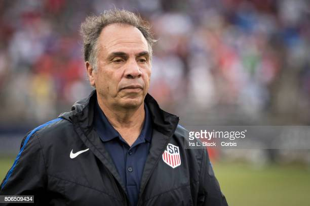 Head Coach Bruce Arena of US Mens National Team seems frustrated after the first half during the International Friendly Match between US Mens...