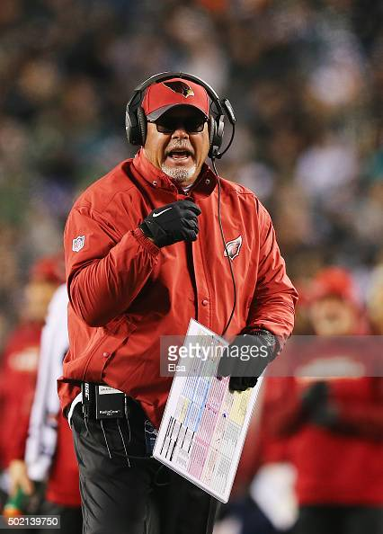 Head coach Bruce Arians of the Arizona Cardinals argues a call in the second quarter against the Philadelphia Eagles at Lincoln Financial Field on...