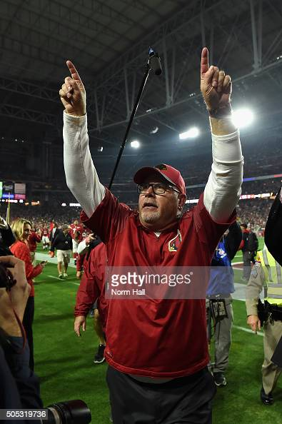 Head coach Bruce Arians of the Arizona Cardinals celebrates while walking off the field after beating the Green Bay Packers 2620 in overtime of the...