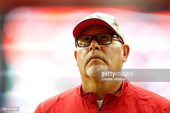 Head coach Bruce Arians of the Arizona Cardinals looks on before the start of the NFL game against the St Louis Rams at the University of Phoenix...
