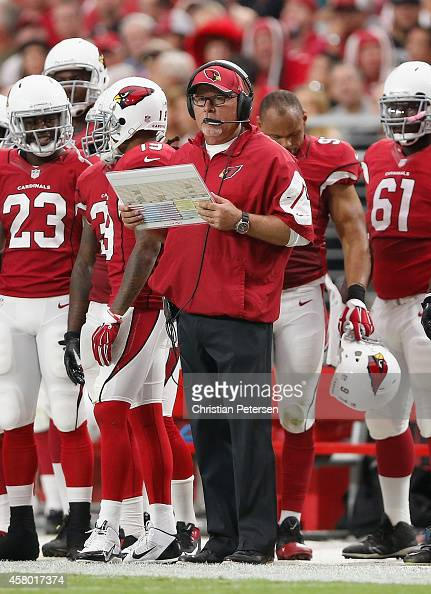 Head coach Bruce Arians of the Arizona Cardinals looks on from the sidelines during the NFL game against the Philadelphia Eagles at the University of...