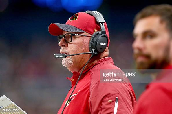 Head coach Bruce Arians of the Arizona Cardinals looks on from the sideline in the second quarter against the St Louis Rams at the Edward Jones Dome...