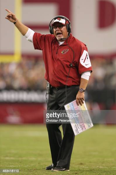 Head coach Bruce Arians of the Arizona Cardinals reacts on the sidelines during the preseason NFL game against the Houston Texans at the University...