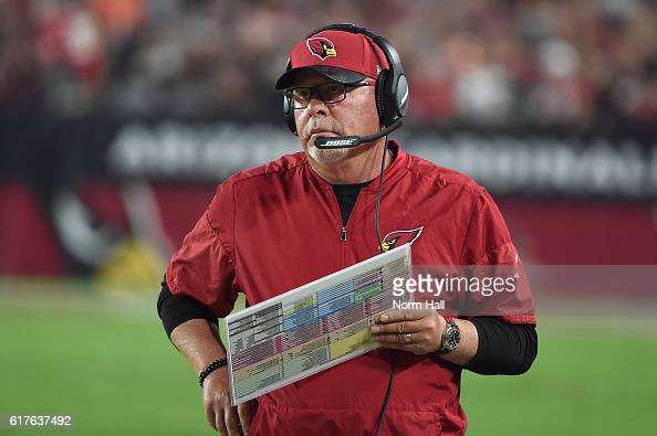 Head coach Bruce Arians of the Arizona Cardinals reacts on the sidelines durings the game against the Seattle Seahawks at University of Phoenix...