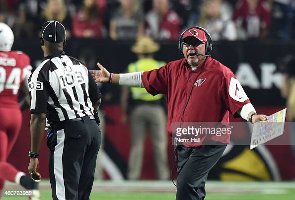 Head coach Bruce Arians of the Arizona Cardinals reacts to a call to field judge Eugene Hall in the first half of the NFL game against the Seattle...