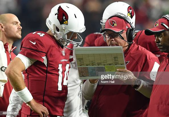 Head coach Bruce Arians of the Arizona Cardinals talks with quarterback Ryan Lindley in the first half of the NFL game against the Seattle Seahawks...