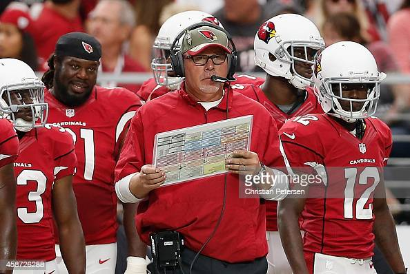 Head coach Bruce Arians of the Arizona Cardinals watches from the sidelines during the NFL game against the St Louis Rams at the University of...