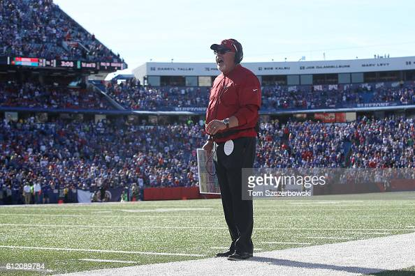 Head coach Bruce Arians of the Arizona Cardinals yells out from the sideline during NFL game action against the Buffalo Bills at New Era Field on...