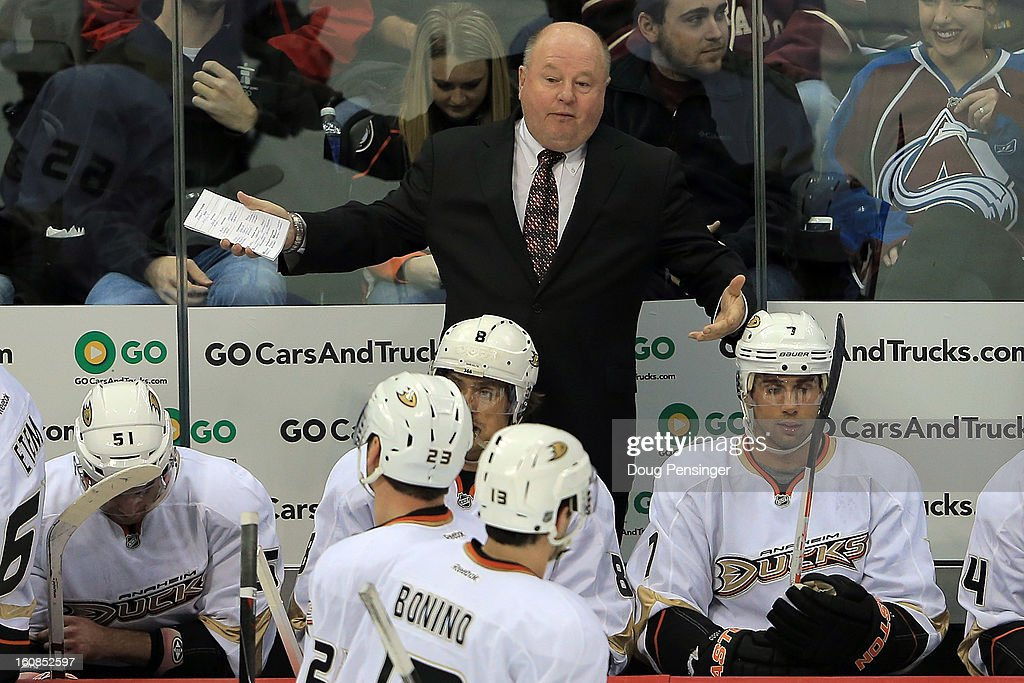 Head coach <a gi-track='captionPersonalityLinkClicked' href=/galleries/search?phrase=Bruce+Boudreau&family=editorial&specificpeople=566938 ng-click='$event.stopPropagation()'>Bruce Boudreau</a> leads the Anaheim Ducks to a 3-0 victory over the Colorado Avalanche at the Pepsi Center on February 6, 2013 in Denver, Colorado.