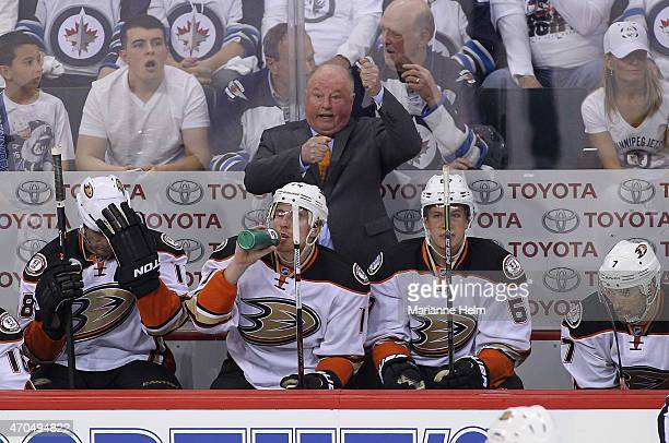 Head coach Bruce Boudreau of the Anaheim Ducks gestures from the bench in firstperiod action in Game Three of the Western Conference Quarterfinals...