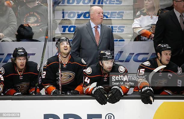 Head coach Bruce Boudreau of the Anaheim Ducks looks on during a game against the Ottawa Senators at Honda Center on January 13 2016 in Anaheim...