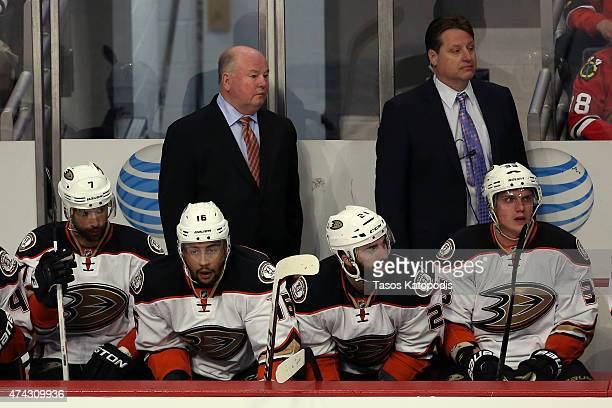 Head coach Bruce Boudreau of the Anaheim Ducks looks on from the bench against the Chicago Blackhawks in Game Three of the Western Conference Finals...