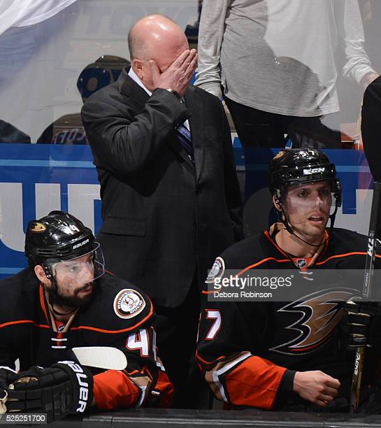 Head coach Bruce Boudreau of the Anaheim Ducks reacts as Game Seven of the Western Conference First Round comes to a close against the Nashville...