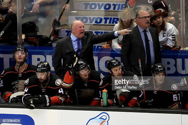 Head coach Bruce Boudreau of the Anaheim Ducks yells at officials during the third period against the Nashville Predators in Game Two of the Western...