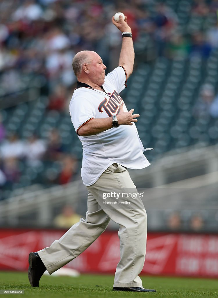 Head coach Bruce Boudreau of the Minnesota Wild delivers a ceremonial pitch before the game between the Minnesota Twins and the Toronto Blue Jays on May 19, 2016 at Target Field in Minneapolis, Minnesota.