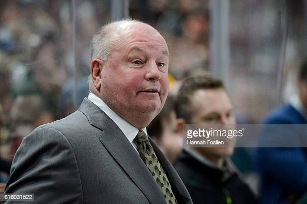 Head coach Bruce Boudreau of the Minnesota Wild looks on during the game against Winnipeg Jets on October 15 2016 at Xcel Energy Center in St Paul...