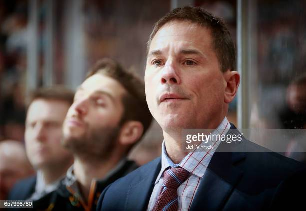 Head coach Bruce Cassidy of the Boston Bruins looks on from the bench during their NHL game against the Vancouver Canucks at Rogers Arena March 13...