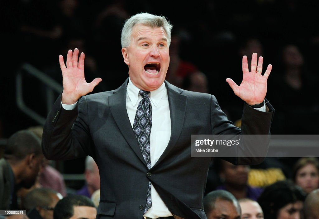 Head Coach <a gi-track='captionPersonalityLinkClicked' href=/galleries/search?phrase=Bruce+Weber+-+Basketball+Coach&family=editorial&specificpeople=15087708 ng-click='$event.stopPropagation()'>Bruce Weber</a> of Kansas State Wildcats reacts during the game against the Michigan Wolverines at Madison Square Garden on November 23, 2012 in New York City. Michigan Wolverines defeated Kansas State Wildcats 71-57.