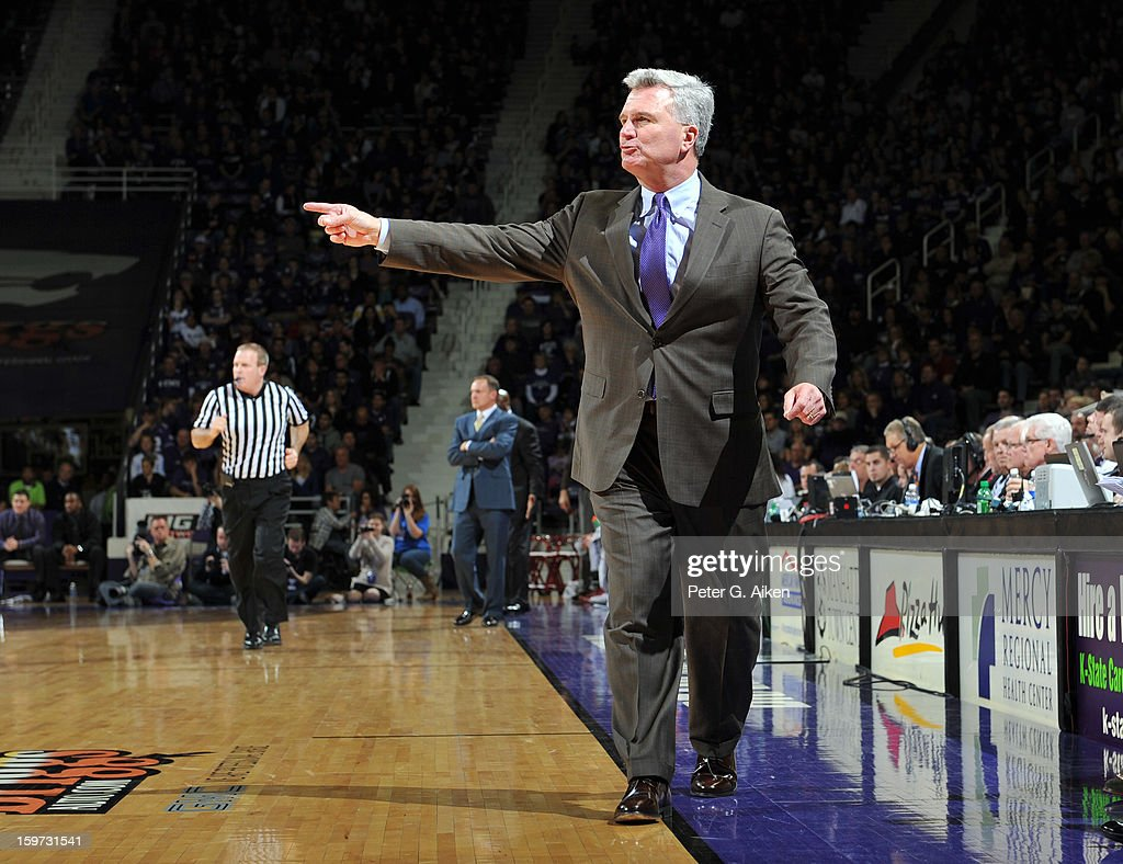 Head coach Bruce Weber of the Kansas State Wildcats calls out some instructions against the Oklahoma Sooners during the first half on January 19, 2013 at Bramlage Coliseum in Manhattan, Kansas. Kansas State defeated Oklahoma 69-60.