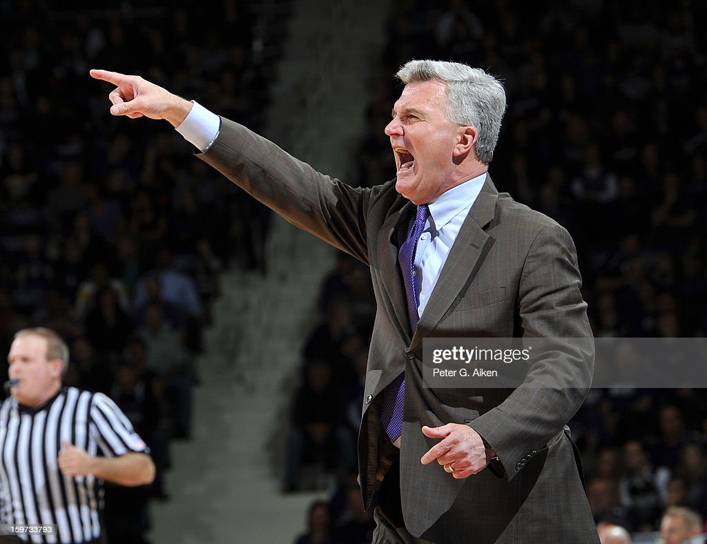 Head coach Bruce Weber of the Kansas State Wildcats calls out some instructions against the Oklahoma Sooners during the second half on January 19, 2013 at Bramlage Coliseum in Manhattan, Kansas. Kansas State defeated Oklahoma 69-60.