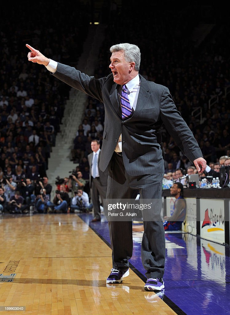 Head coach Bruce Weber of the Kansas State Wildcats calls out instructions against the Kansas Jayhawks during the second half on January 22, 2013 at Bramlage Coliseum in Manhattan, Kansas. Kansas defeated Kansas State 59-55.