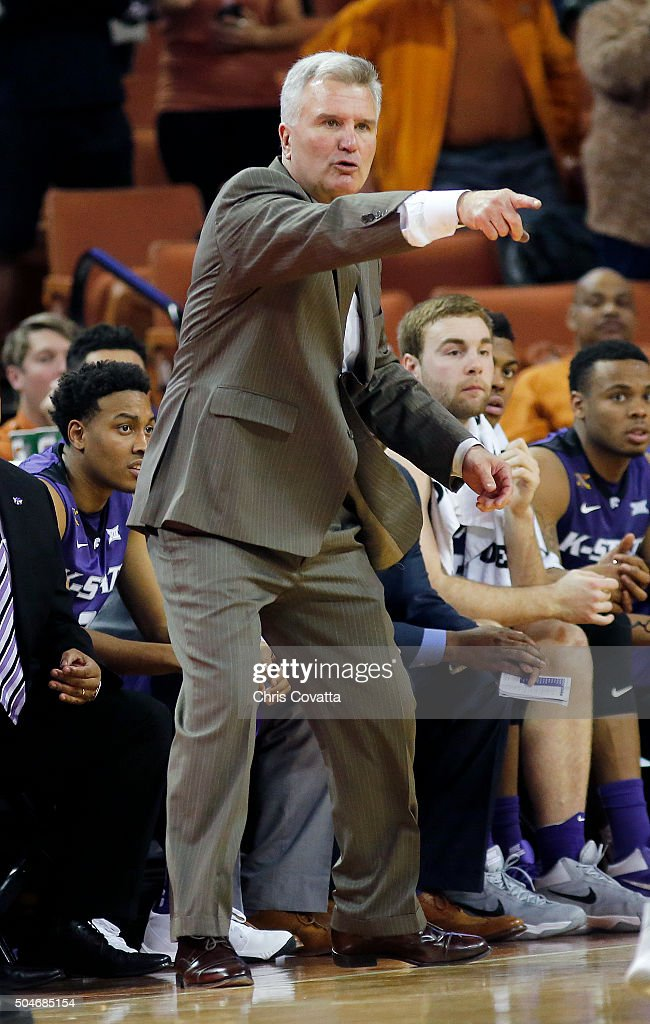 Head coach <a gi-track='captionPersonalityLinkClicked' href=/galleries/search?phrase=Bruce+Weber+-+Baskettr%C3%A4nare&family=editorial&specificpeople=15087708 ng-click='$event.stopPropagation()'>Bruce Weber</a> of the Kansas State Wildcats reacts as his team plays the Texas Longhorns at the Frank Erwin Center on January 5, 2016 in Austin, Texas.