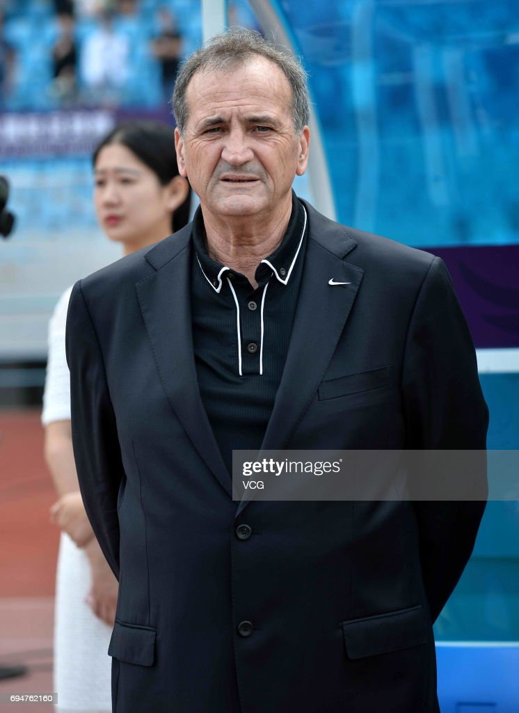 Head coach Bruno Bini of China reacts during the Friendly International Women 2017 between China and Finland at Changzhou Olympic Sports Center on June 11, 2017 in Changzhou, Jiangsu Province of China.