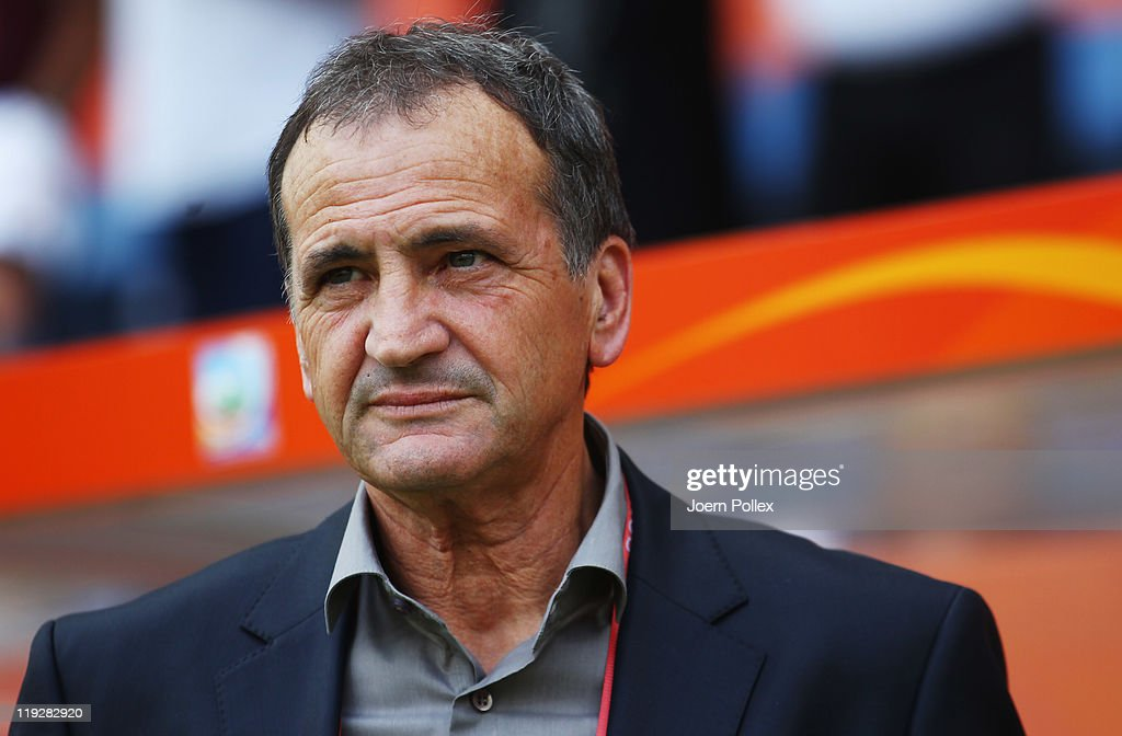 Head coach <a gi-track='captionPersonalityLinkClicked' href=/galleries/search?phrase=Bruno+Bini&family=editorial&specificpeople=2391630 ng-click='$event.stopPropagation()'>Bruno Bini</a> of France looks on prior to the FIFA Women's 3rd Place Playoff match between Sweden and France at Rhein-Neckar Arena on July 16, 2011 in Sinsheim, Germany.