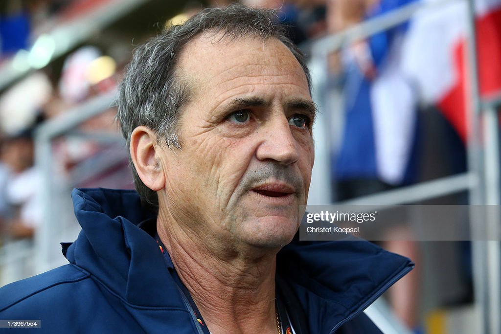 Head coach <a gi-track='captionPersonalityLinkClicked' href=/galleries/search?phrase=Bruno+Bini&family=editorial&specificpeople=2391630 ng-click='$event.stopPropagation()'>Bruno Bini</a> of France looks on prior to the UEFA Women's EURO 2013 Group C match between France and England at Linkoping Arena on July 18, 2013 in Linkoping, Sweden.