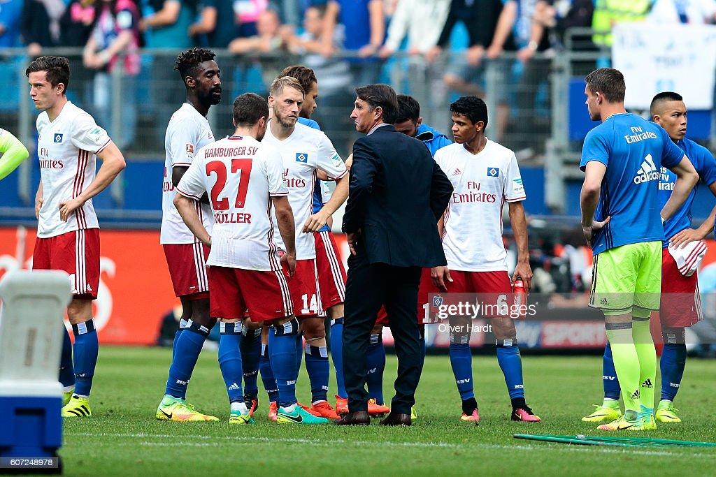 Head coach Bruno Labbadia of Hamburg appears frustrated after the Bundesliga match between Hamburger SV and RB Leipzig at Volksparkstadion on September 17, 2016 in Hamburg, Germany.