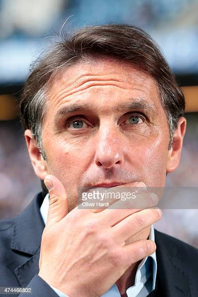 Head coach Bruno Labbadia of Hamburg looks on prior to the First Bundesliga match between Hamburger SV and FC Schalke 04 at Imtech Arena on May 23...