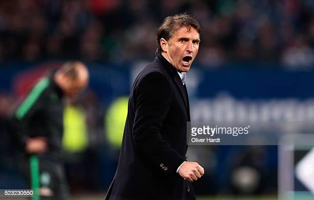 Head coach Bruno Labbadia of Hamburg reacts during the Bundesliga match between Hamburger SV and Werder Bremen at Volksparkstadion on April 22 2016...