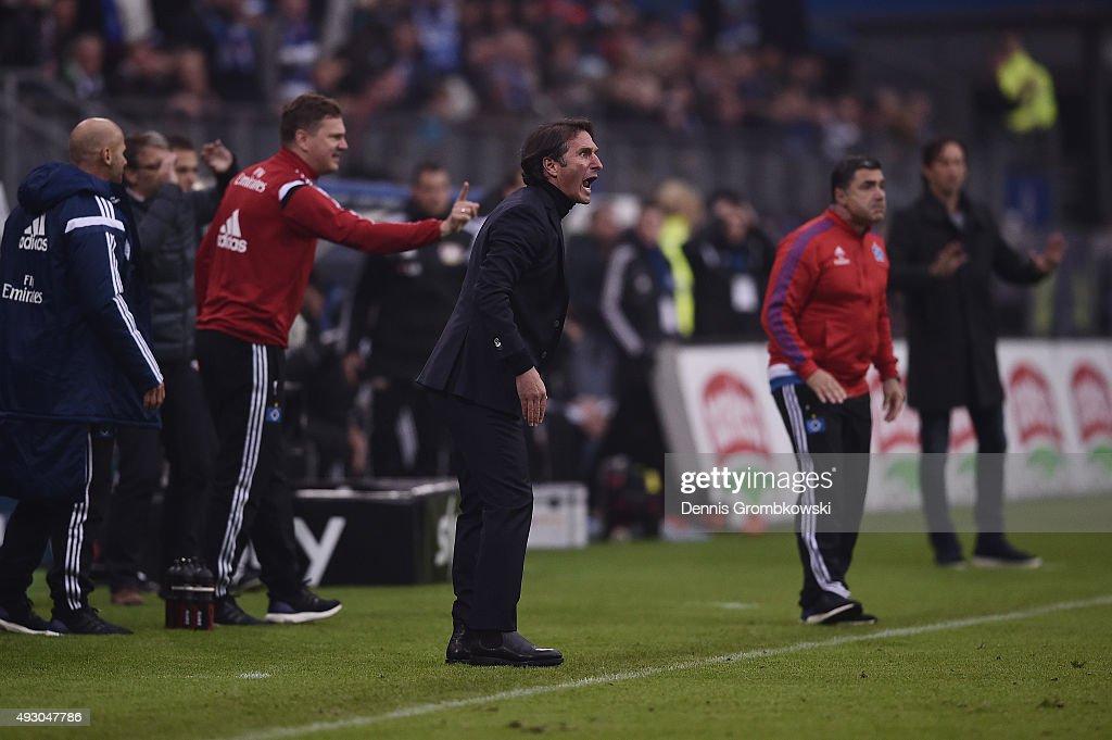 Head coach Bruno Labbadia of Hamburger SV looks reacts during the Bundesliga match between Hamburger SV and Bayer Leverkusen at Volksparkstadion on October 17, 2015 in Hamburg, Germany.