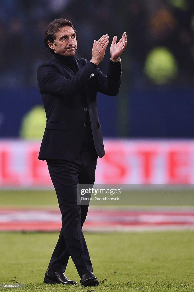 Head coach Bruno Labbadia of Hamburger SV reacts after the Bundesliga match between Hamburger SV and Bayer Leverkusen at Volksparkstadion on October 17, 2015 in Hamburg, Germany.