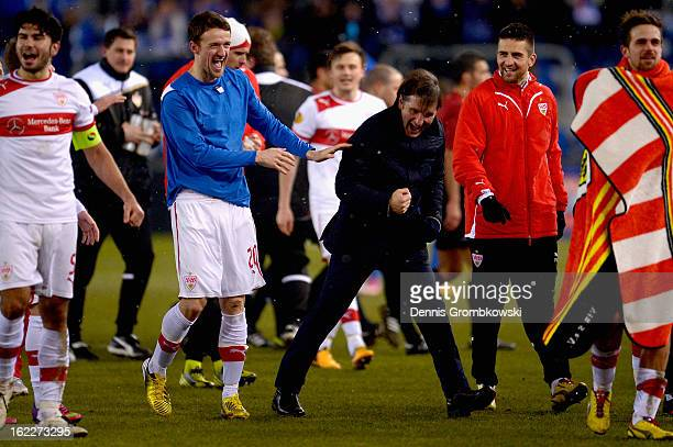 Head coach Bruno Labbadia of Stuttgart and Christian Gentner celebrate after the UEFA Europa League Round of 32 second leg match between KRC Genk and...