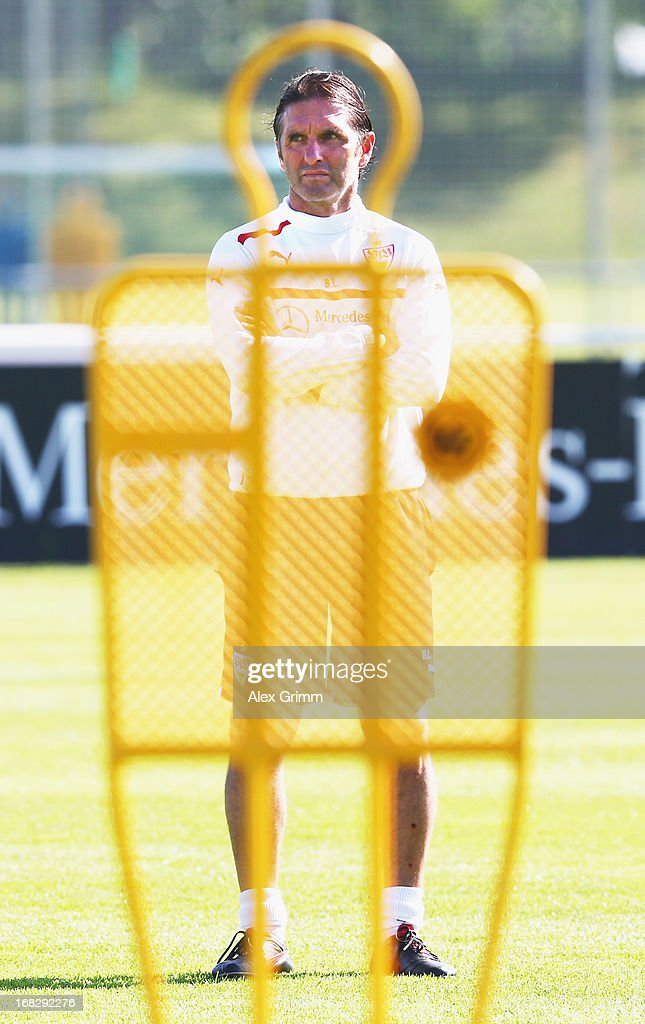 Head coach <a gi-track='captionPersonalityLinkClicked' href=/galleries/search?phrase=Bruno+Labbadia&family=editorial&specificpeople=653790 ng-click='$event.stopPropagation()'>Bruno Labbadia</a> of Stuttgart looks ons during a VfB Stuttgart training session at the club's premises on May 8, 2013 in Stuttgart, Germany.