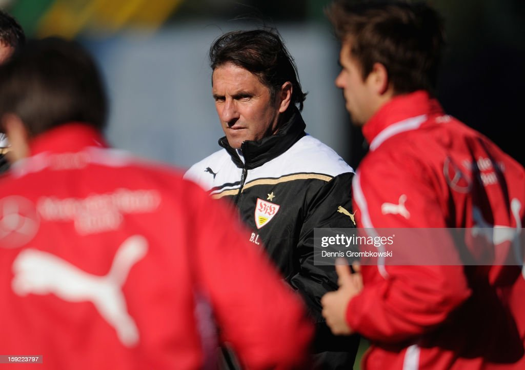 Head coach Bruno Labbadia of Stuttgart reacts during a training session at day seven of the Vfb Stuttgart Training Camp on January 10, 2013 in Belek, Turkey.