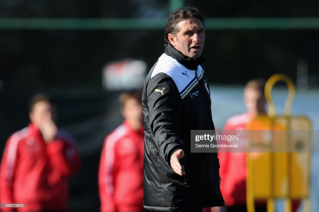 Head coach <a gi-track='captionPersonalityLinkClicked' href=/galleries/search?phrase=Bruno+Labbadia&family=editorial&specificpeople=653790 ng-click='$event.stopPropagation()'>Bruno Labbadia</a> of Stuttgart reacts during a training session at day seven of the Vfb Stuttgart Training Camp on January 10, 2013 in Belek, Turkey.