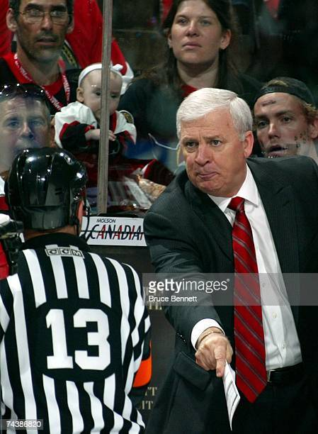 Head coach Bryan Murray of the Ottawa Senators yells at a referee during Game Three of the 2007 Stanley Cup finals against the Anaheim Ducks on June...